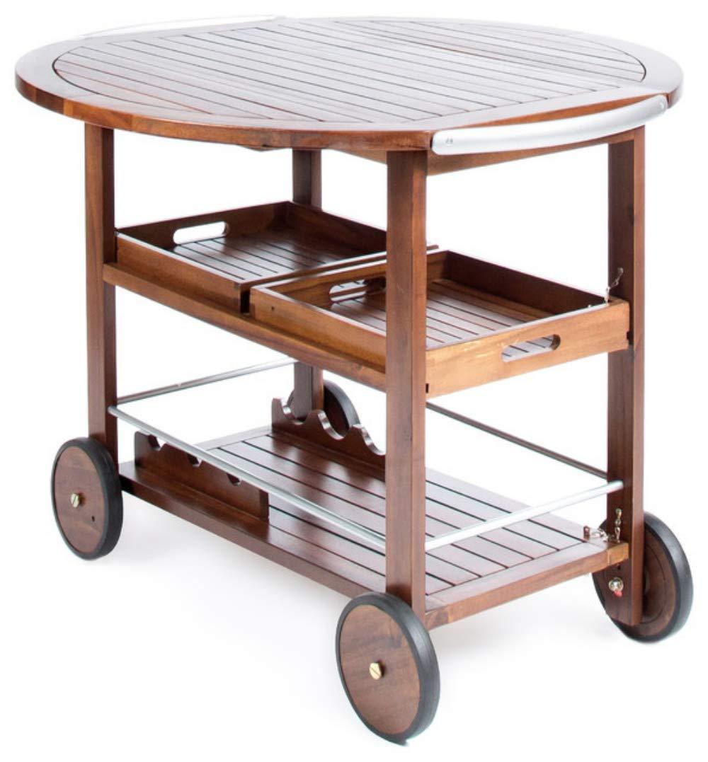PNPGlobal Bar Cart Tiller Outdoor Dark Acacia Wood with Powder Coated Aluminum Accent
