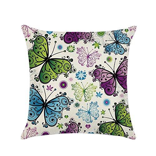 Handfly 18X18 Indian Home Decor Thread Embroidery Work Block Printed Butterfly Cushion Cover Car Chair Waist