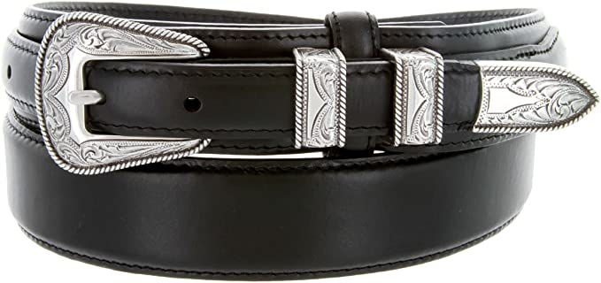 Silver Buckle Set Oil-Tanned Genuine Leather Western Ranger Belt for Men