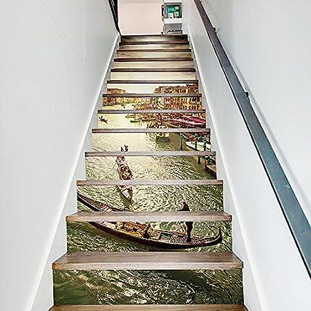 13pcs escalera auto - adhesivo 3D DIY pegatinas de pared adhesivos decorativos arte mural escaleras desmontables, pegatinas de vinilo - Jiangnan Watertown: Amazon.es: Hogar