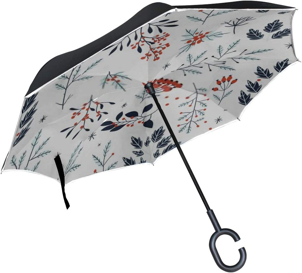 Double Layer Inverted Inverted Umbrella Is Light And Sturdy Hand Drawn Floral Winter Seamless Pattern Reverse Umbrella And Windproof Umbrella Edge Ni