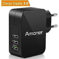 Amoner Chargeur Secteur USB Quick Charge 3.0 33W Chargeur USB Mural équipé de 3 Port(QC3.0+2 Sortie Standard) Adaptateur USB Universel pour iphone iOS, Android, Appareils Portable Windows