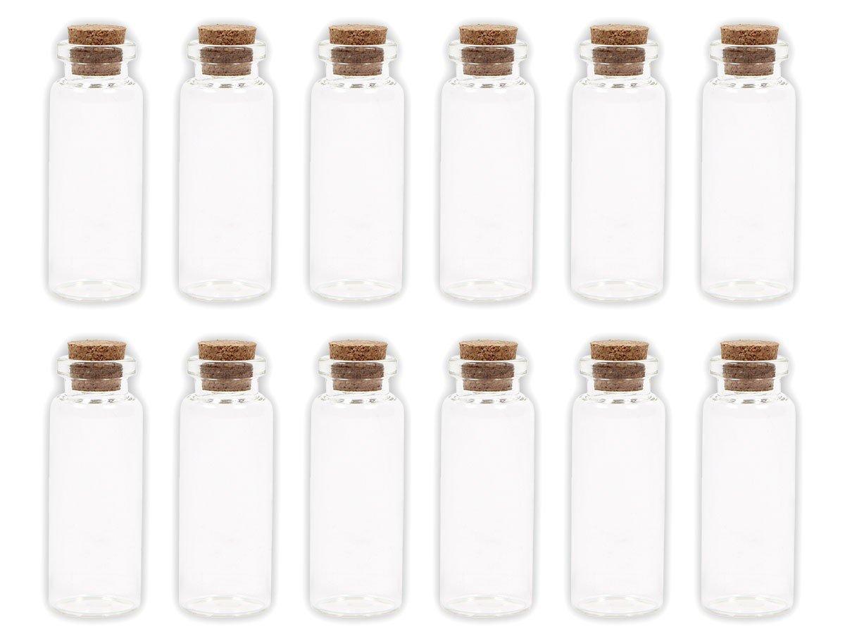 Lot de 20 Petites Bouteilles en verre transparent avec bouchon en liège jolie fiole flacon avec cork Mini bouteille décoratives pour parfums liquides sables colorés des gourmandises miniatures, choisir:20 pièces GF-01 2 cm x 4 cm Alsino