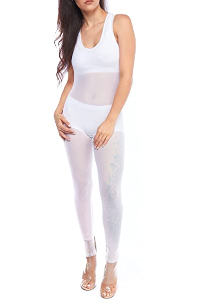 71bd1dda9109 Image Unavailable. Image not available for. Color  GenX Solid See Through  Mesh Tank Top Jumpsuit ...
