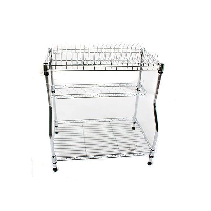 LUYIASI- Estante de cocina de metal económico de tres capas, cesta ...