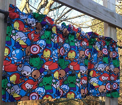 Kids Handcrafted Curtain Valance Sewn From Marvel Kawaii All in the Pack Collection Fabric