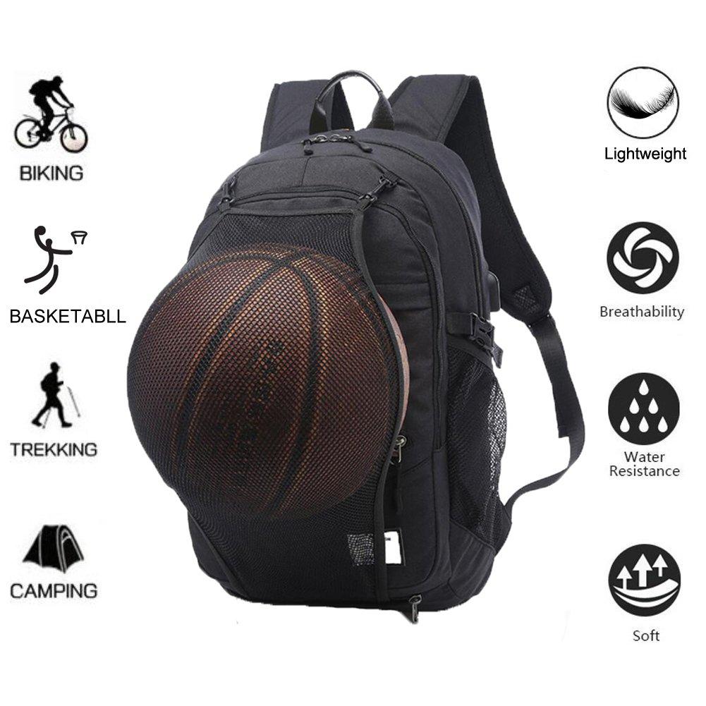 Valleycomfy - Mochila de lona para hombre con red para pelota de baloncesto extraíble e interfaz de carga USB, para ocio, deporte y viaje (hasta 39,6 cm), ...