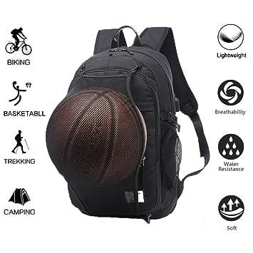 Valleycomfy - Mochila de lona para hombre con red para pelota de baloncesto extraíble e interfaz