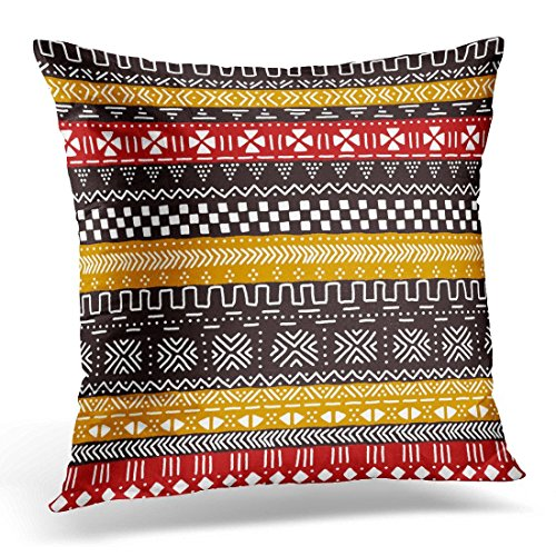SPXUBZ Brown Cloth Black Red Yellow and White Traditional African Mudcloth Colorful Geo Mud Decorative Home Decor Square Indoor/Outdoor Pillowcase Size: 16x16 Inch(Two Sides)