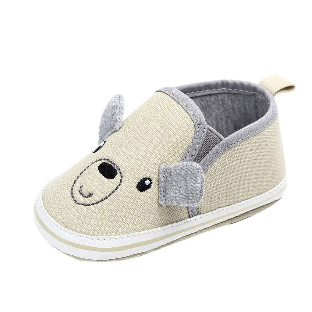 Unisex Baby Cute Cartoon Shoes,Jchen Newborn Girl Boy Cute Bear Mice First Walker Shoes Soft Non-Slip Shoes for 0-18 Months (Age:12-18 Months, Beige)