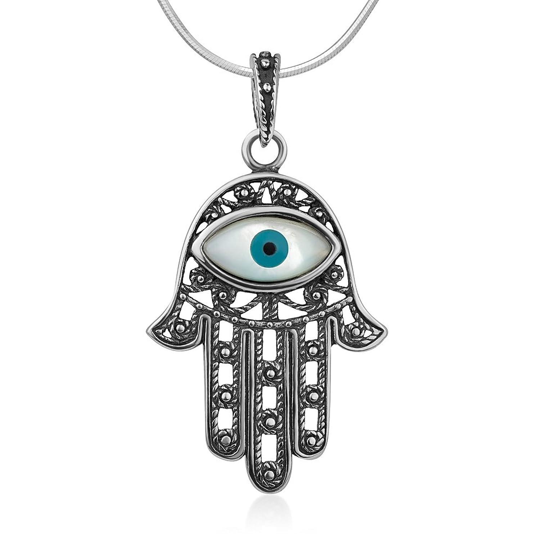 "925 Oxidized Sterling Silver Hamsa Hand Of Fatima Amulet Evil Eye Rope Pendant Necklace 18"""
