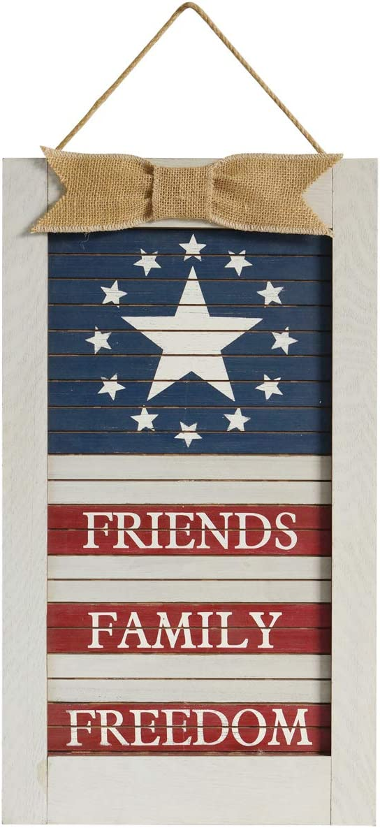 KHM Fourth of July Memorial Day Seasonal Decor Wall Sign Patriotic Hanging plaques for Friends Family Freedom