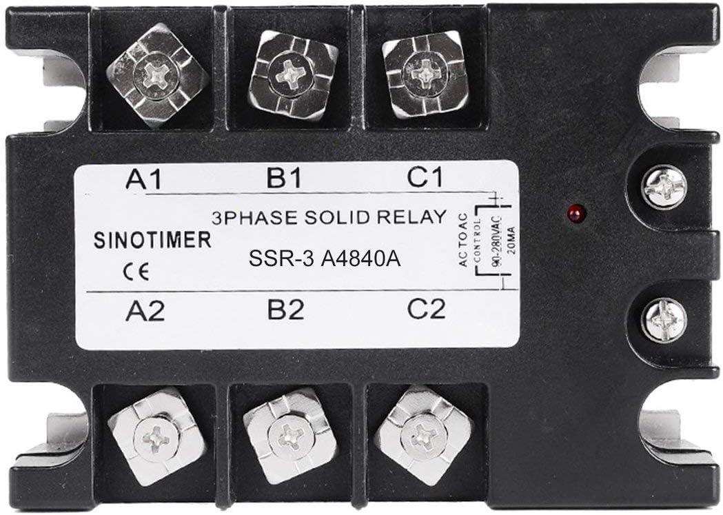 Sylvialuca Relais /à Semi-conducteurs AC-AC SSR-3A4810A 25A 40A 60A 80A 100A 90-280VAC to 30-480VAC Charge triphas/ée pour Le contr/ôle de la temp/érature