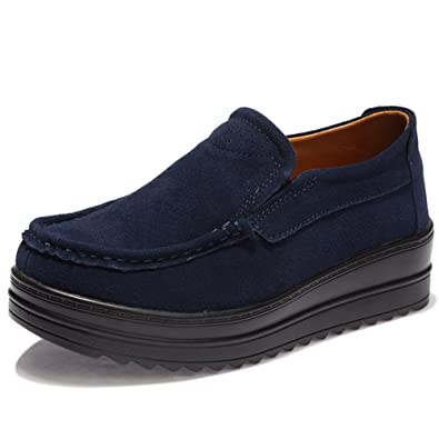 HKR-HC-329shenlan36 Womens Platform Shoes Slip On Suede Loafers Casual Driving Moccasins Dark