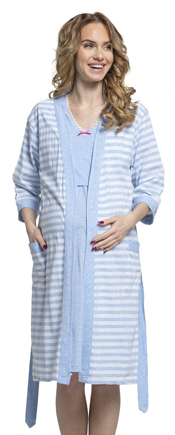 Zeta Ville - Womens Maternity Breastfeeding Stripes Set Robe Nightdress - 190c at Amazon Womens Clothing store: