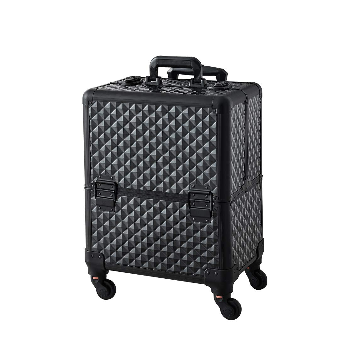 Makeup Case - Professional Folding Trays and Rolling Universal Wheels Cosmetic Storage Organizer with Aluminum Frame Black Diamond Pattern by Beauty Collector