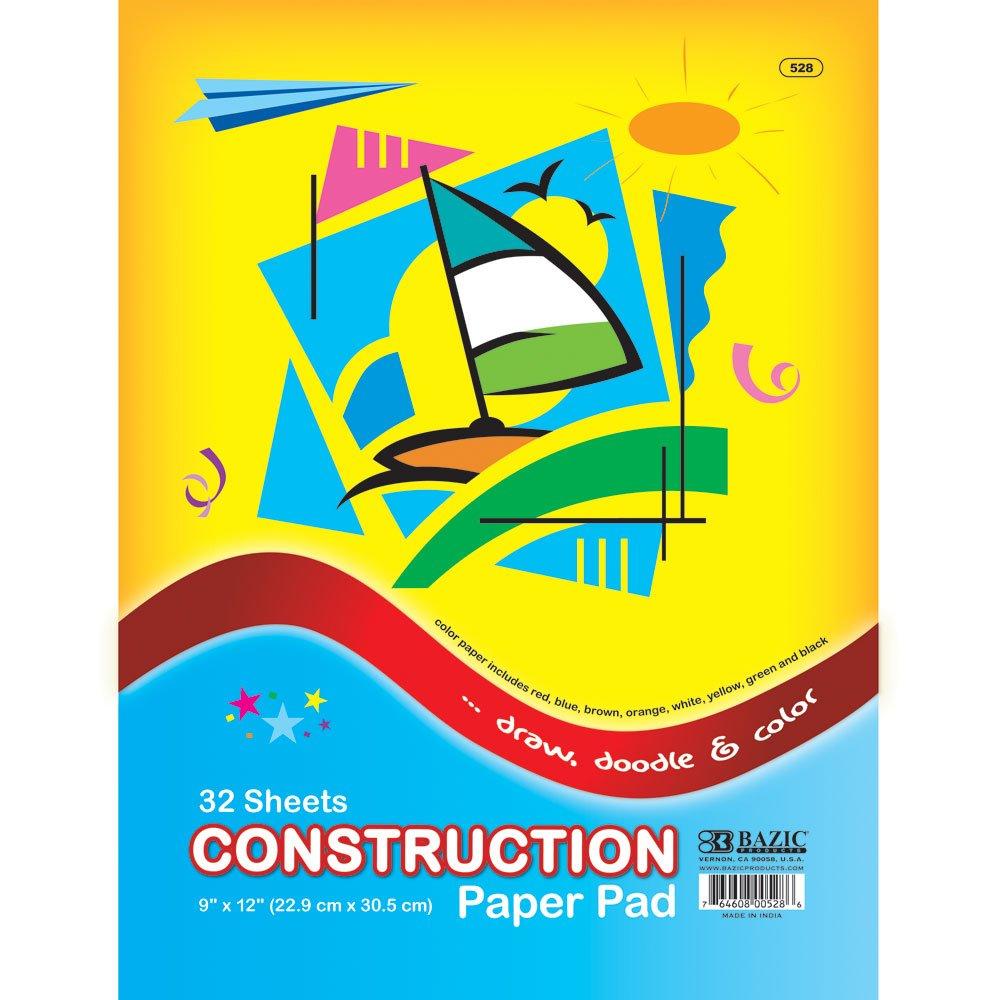 BAZIC 32 Ct Case of 48 Bazic Stationery//Bangkit USA Corporation 528-48 9 X 12 Construction Paper Pad