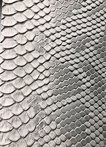 Vinyl Fabric Silver / gray Faux Viper Snake Skin Vinyl-faux Leather - 3D Upholstery Scales - sold By The Yard. ()