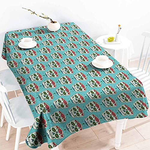 Beihai1Sun Fashions Rectangular Table Cloth,Skull Cross and Roses on Ornate Skull Pattern South American Culture Vintage Style,Modern Minimalist,W60X102L Seafoam Ruby Green