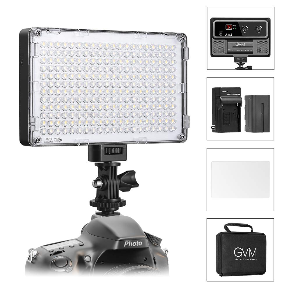 GVM LED On Camera Lights CRI97+ Dimmable 3200K-5600K Photo Video Light Panel with Battery for Photography YouTube Video Digital DSLR Camera Camcorder Photo Light by GVM Great Video Maker