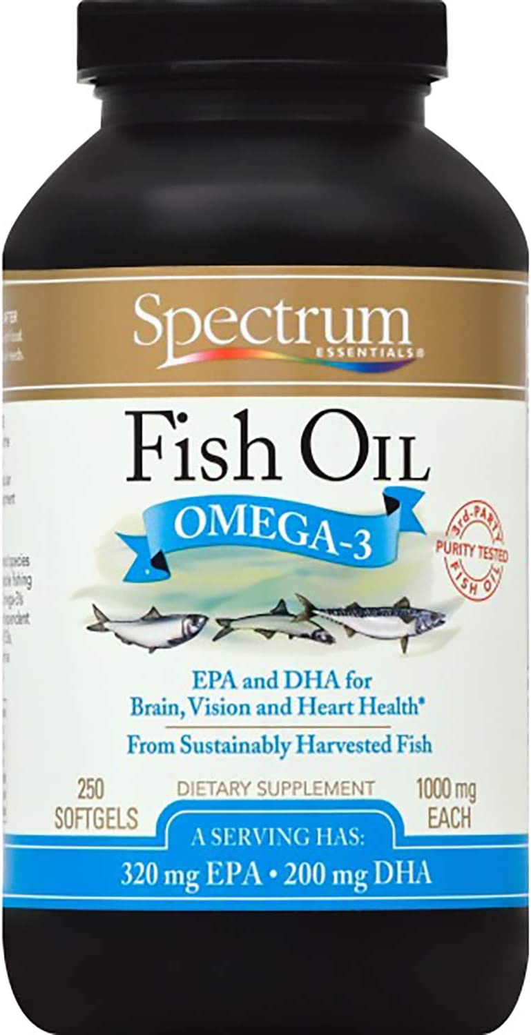 Spectrum Essentials Softgels, Fish Oil Omega-3, 1000 mg, 250 Count