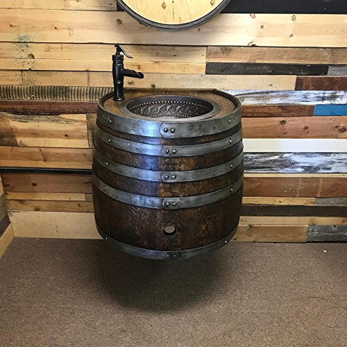 Wall Mount Wine Barrel Copper Sink Vanity with Antique Waterfall Faucet