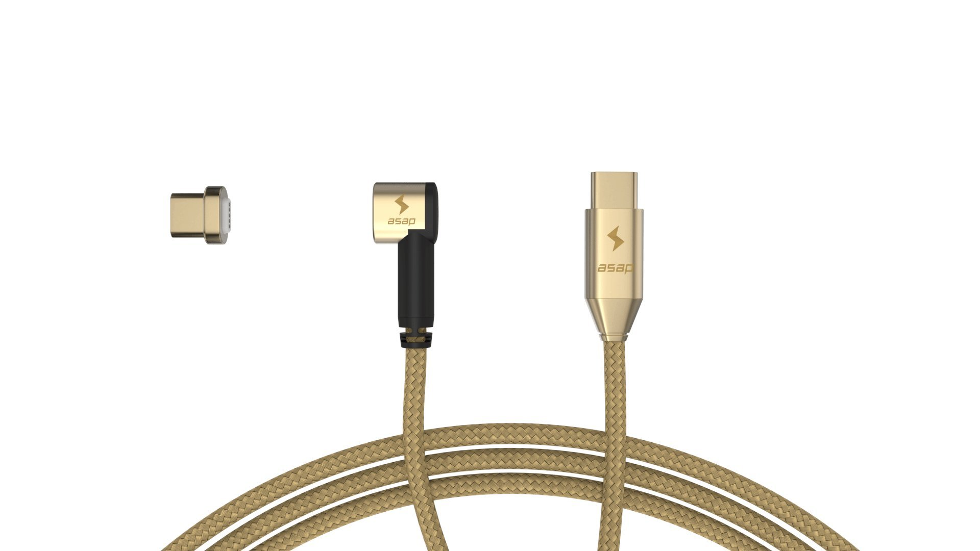 ASAP MagX Cable set USB Type C to Type C Magnetic Fast Charge 6.56ft Cable for MacBook Pro and Type C devices (Gold) by asap Technologies