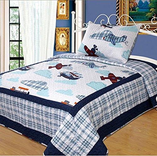 LELVA Boys Bedding Quilts Set Children's Bedspreads Set Cartoon Patchwork Quilt Bedding Planes Twin Size 2 Pc