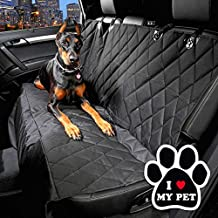 """Waterproof Pet Finer Seat Universal Cover for Cars and SUV with Seat Trunk Cargo Liner Anchors included """"I Love My Pet"""" 5inch Stickers (Black Rear Seat -L Size)"""