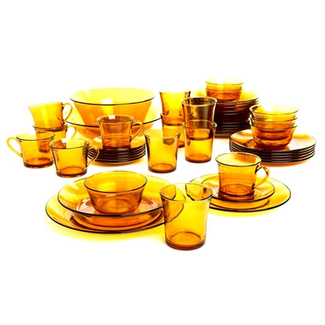 Duralex - Lys Vermeil Glass Dinnerware, 44pc set Service for 6