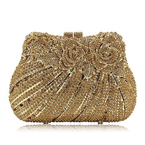 Color per della di sera della borsa della Dark notturne club matrimoni frizione delle Borsa frizione per di qualità di borsa di alta cristallo frizione della della Gold Champagne di cristallo feste donne 8twfatq1
