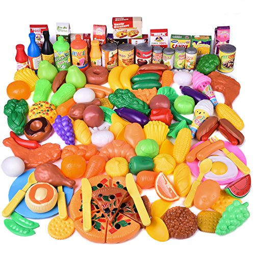 - FUN LITTLE TOYS 128 pcs Play Food for Kids Kitchen, Pretend Play Plastic Food Toy for Toddlers