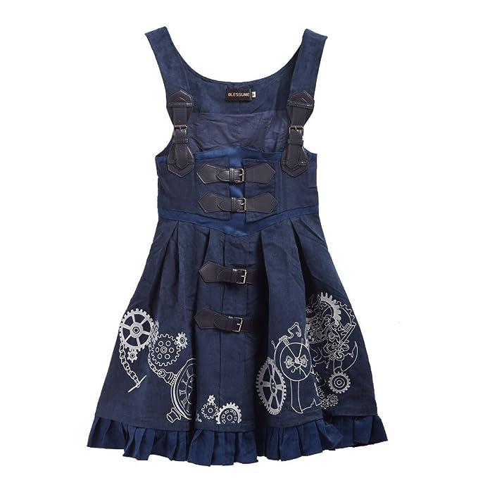 d8f6144cf8 BLESSUME Women Embroidery JSK Dress Lolita Corset Dress With Blouse   Cape (Blue  Skirt