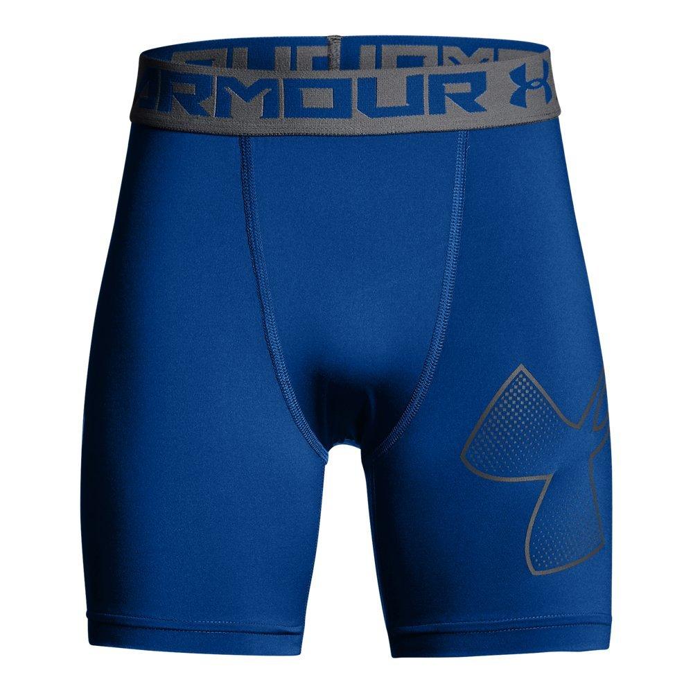 Under Armour Boys Heatgear Armour Mid Shorts, Royal (400)/Graphite, Youth X-Small