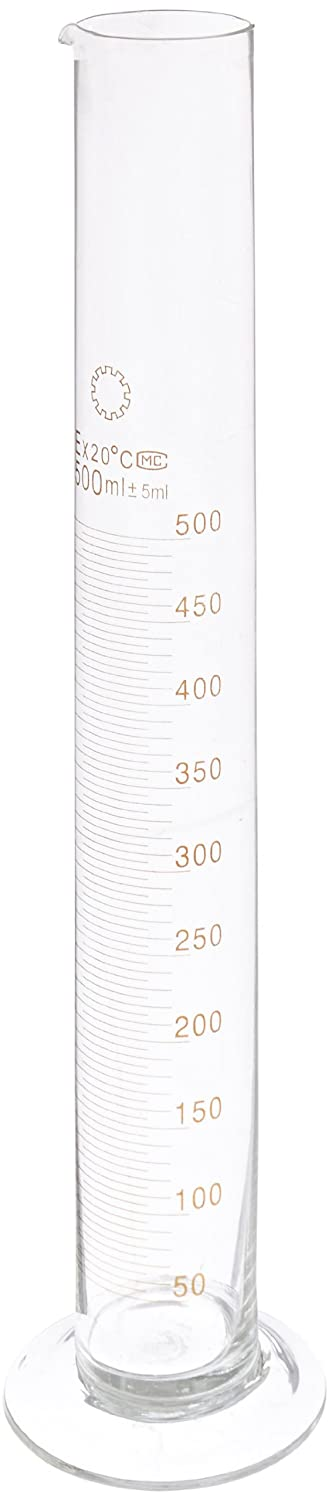 Ajax Scientific Borosilicate Glass Measuring Cylinder with Round Base and spout 500mL GL020-0500