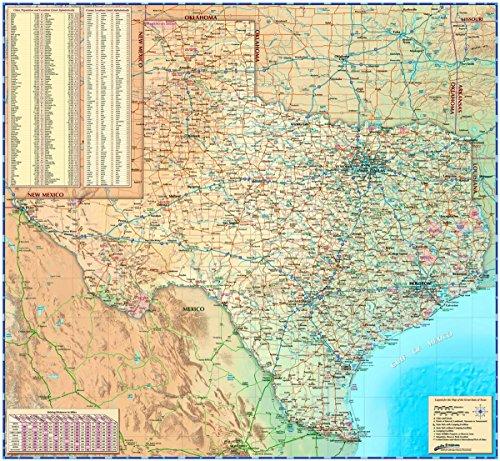 Decorative TEXAS Wall Map *Laminated* LARGE 48