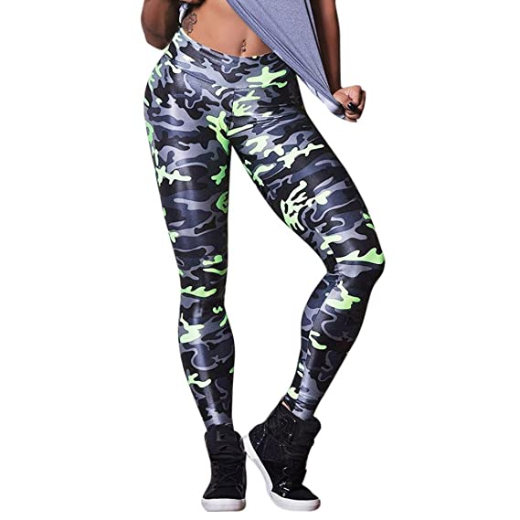 Pantalones Yoga Mujeres, ❤️Xinantime Pantalones atléticos de Las Mujeres Medias de Entrenamiento de Camuflaje