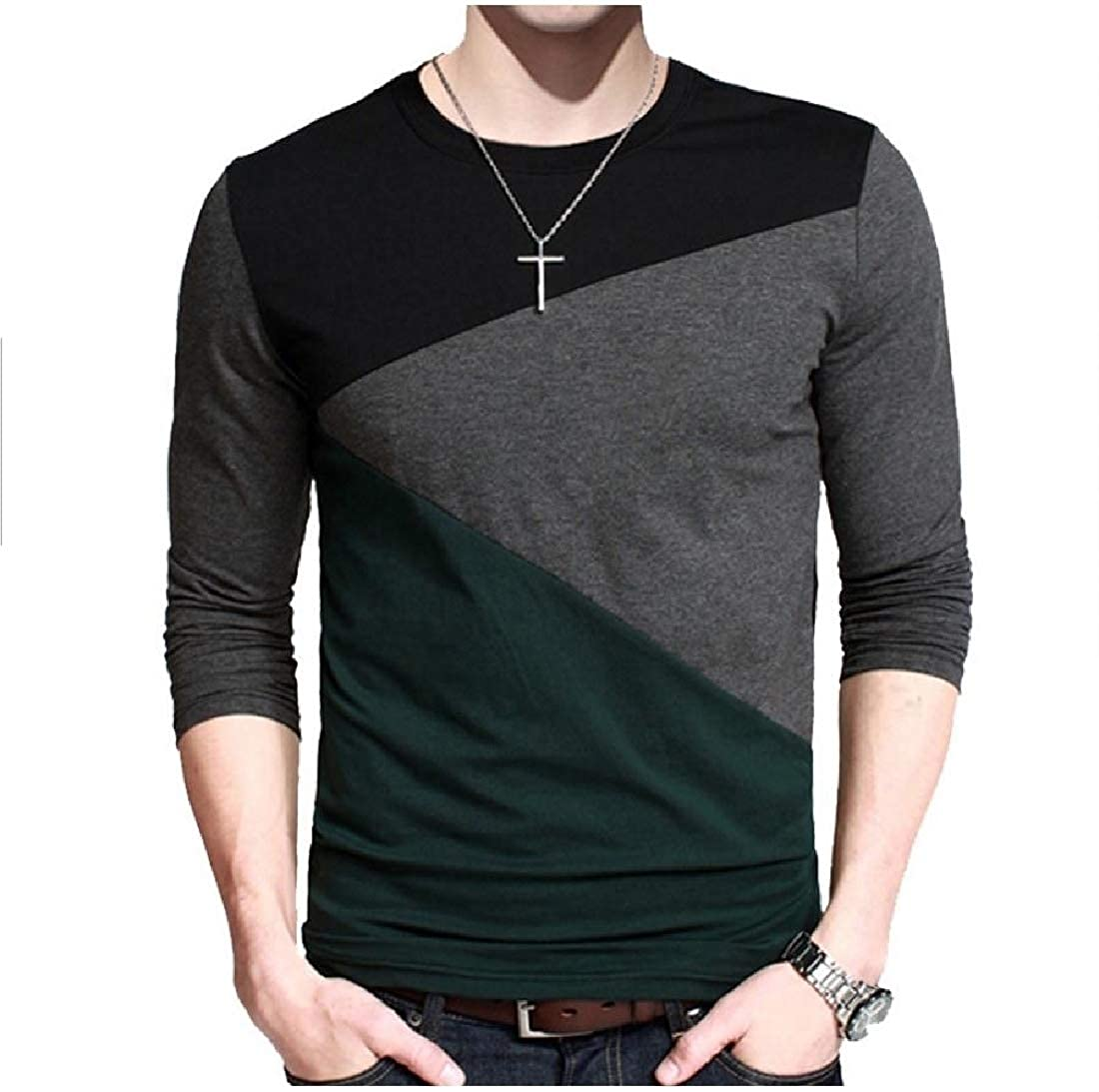 Mens Tops Splicing Collision Color Casual Comfortable T Shirts