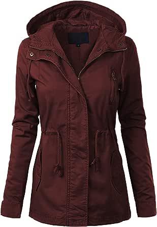 MixMatchy Women's Casual Safari Military Anorak Utility Hoodie Zip Up Jacket