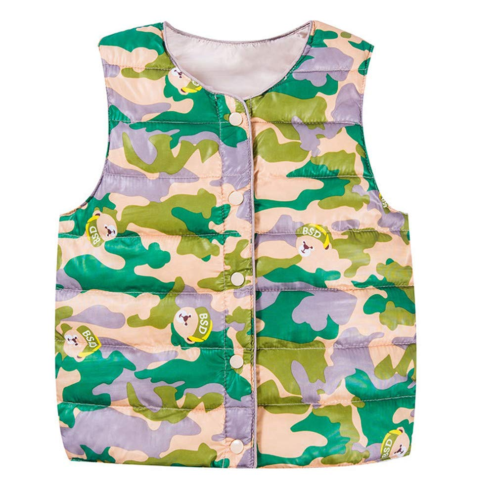 Roffatide Kids Sleeveless Cute Bear Print Waistcoat Winter Warm Vest