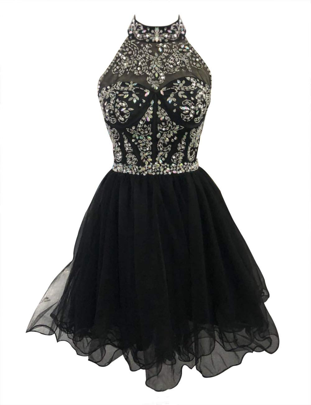 Sweetdress Women's Halter Beading Homecoming Dresses Sequined Backless Prom Gowns Short