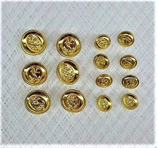 Gold Metal Blazer Button Shank Style 14pc Double Breasted Sport Coat Blazer Button Set/ 6 Pieces 7/8'' and 8 Pieces 5/8'' -