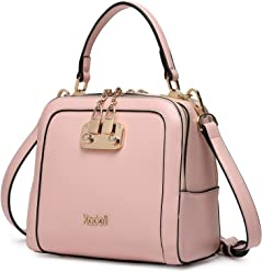 Kadell Women Leather Handbags Shell Shape Top Handle Purse with Removable Strap