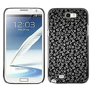 Qstar Arte & diseño plástico duro Fundas Cover Cubre Hard Case Cover para SAMSUNG Galaxy Note 2 II / N7100 ( Flowers Grey Wallpaper Black Garden)