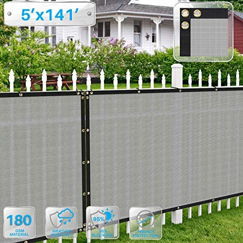 Patio Fence Privacy Screen 5 x 141 , Pergola Shade Cover Canopy Sun Block, Heavy Duty Fence Privacy Netting, Commercial Grade Privacy Fencing, 180 GSM, 90 Privacy Blockage Light Gray
