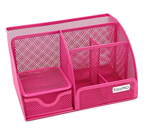 EasyPAG Mesh Office Desk Organizer 6 Compartments with Drawer,Pink ()