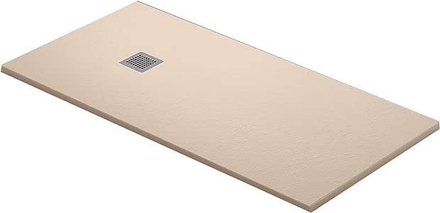 Plato de ducha IBIZA en Resina con textura Pizarra. (120 x 80 cm, Beige): Amazon.es: Bricolaje y herramientas
