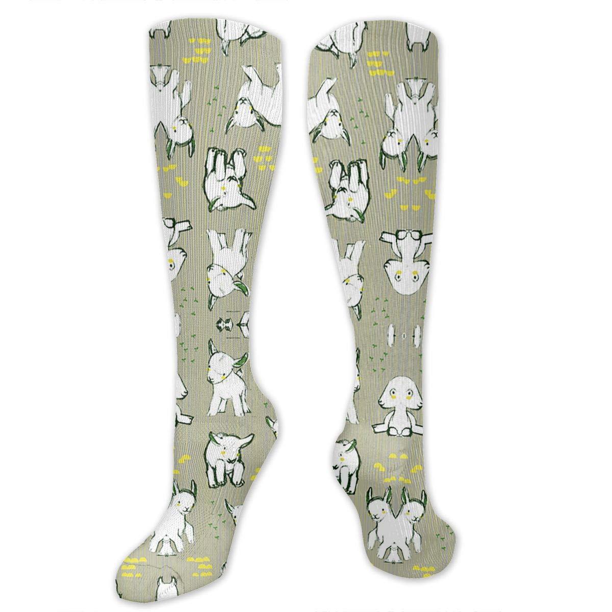 Willbegood99 Baby Goats in Grey Mens Fun Dress Socks Colorful Pattened Novelty Mid-Calf Crew Socks Premium Cotton Vibrant Art Socks