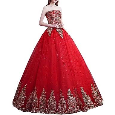 RONGKIM Women\'s Vintage Lace Red Wedding Dresses Long Bridal ...