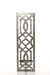 """Hosley 17"""" High Iron Wall Pillar Candle Sconce, Antique Silver Galvanized Finish. Ideal Gift for Wedding, Special Occasions, and Use in Home, Den, Office, Spa, Aromatherapy, and Candle Gardens O4"""